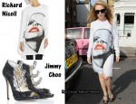 In Kylie Minogue's Closet - Richard Nicoll Face Print Dress & Jimmy Choo 'Fever' Sandals
