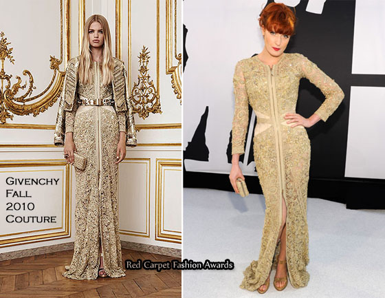 e887b944132a 2010 MTV VMAs – Florence Welch In Givenchy Couture. Best Dressed Award