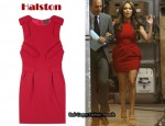 In Jennifer Lopez' Closet - Halston Boat Neck Epaulette Dress