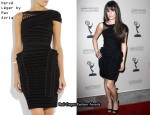 In Lea Michele's Closet - Hervé Léger by Max Azria Asymmetrical Velour Bandage Dress