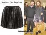 In Olivia Palermo's Closet – Marios Pleated Skirt & Charlotte Olympia Minerva Laser-Cut Suede Pumps