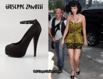 In Katy Perry's Closet - Giuseppe Zanotti Open Toe Suede Pumps