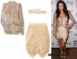 In Megan Gale's Closet - Willow Draped Sequin and Mesh Jacket and Nude Drape Skirt