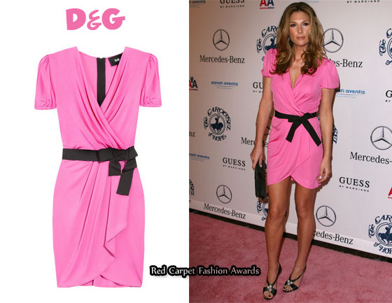 In Daisy Fuentes Closet D Amp G Satin Pink Wrap Dress Red