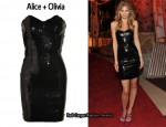In AnnaLynne McCord's Closet - Alice + Olivia Sequined Mesh Tube Dress