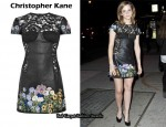 In Emma Watson's Closet - Christopher Kane Jenny Leather and Lace Embrodiered Dress