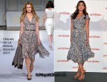 "Eva Mendes In Oscar de la Renta – ""Last Night"" Rome Film Festival Photocall"