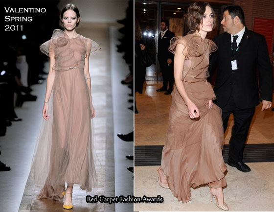 Keira Knightly always looks good even though her Valentino dress had a huge