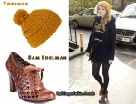 In Taylor Swift's Closet - Topshop Duffle Coat, Topshop Beanie Hat & Sam Edelman Shoes