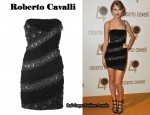 In Taylor Swift's Closet - Roberto Cavalli Black Embroidered Strapless Dress