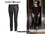 In Victoria Beckham's Closet - Isabel Marant Sweater & Black Cropped Leather Pants
