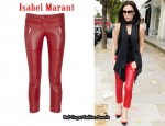 In Victoria Beckham's Closet - Isabel Marant Red Leather Cropped Pants