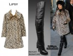 In Kourtney Kardashian's Closet - Lipsy Leopard Print Coat & Report Signature Over The Knee Boots