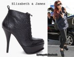 In Cheryl Cole's Closet - Elizabeth & James Black Leather MOXY Boots & Milly Navy Double-Breasted Jacket
