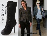 In Gwen Stefani's Closet - L.A.M.B. Military Plaid Jacket & L.A.M.B. Prudence Suede Lace Up Boots
