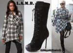 In Gwen Stefani's Closet - L.A.M.B. Plaid Shawl Collar Jacket & Prudence Suede Lace Up Boots