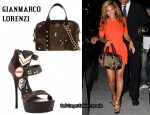 In Beyonce Knowles' Closet - Gianmarco Loreni Military Style Platform Sandals & Military Badge Tote Bag
