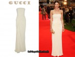 In Gemma Arterton's Closet - Gucci Draped Strapless Gown