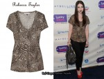In Michelle Trachtenberg's Closet – Rebecca Taylor Animal Print T-Shirt & Christian Louboutin Fiocchito Bag