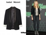 In Cameron Diaz' Closet - Isabel Marant Fulber Leather-Trimmed Wool Blazer