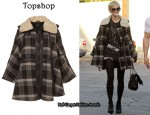 In Ashlee Simpson's Closet - Topshop Check Cape
