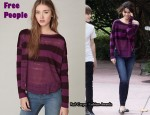 In Selena Gomez' Closet - Free People Long Sleeve Lacey Striped Top