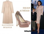 In Victoria Beckham's Closet - Alexander McQueen Strong-Shouldered Coat & Brian Atwood Dante Pumps