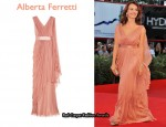 In Violante Placido's Closet - Alberta Ferretti Draped Silk-Chiffon Gown