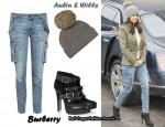 In Cheryl Cole's Closet - Aubin & Wills Wool Hat, Burberry Skinny Cargo Jeans & Burberry Ankle Boots