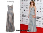 In Emma Roberts Closet - Topshop Grey Skeleton Leaf Print Pleated Maxi Dress