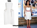 In Salma Hayek's Closet - YSL White Strapless Dress