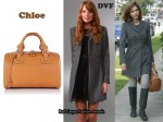 In Jessica Alba's Closet - Diane von Furstenberg Red Riding Long Coat & Chloe Aurore Duffle Bag