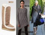 In Gwen Stefani's Closet - McQ Asymmetrical Sweater & Mou Tall Suede Boots