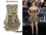 In Anna Kendrick's Closet - Marchesa Knife-Pleated Metallic Silk-Organza Dres