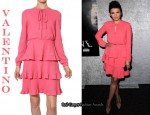 In Ginnifer Goodwin's Closet - Valentino Pink Ruffle Dress