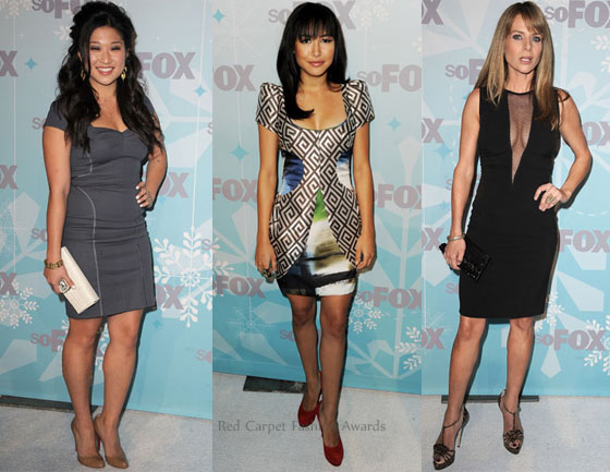 Jenna Ushkowitz opted for a simple grey dress but added a cream Judith Leiber 'Traviata' clutch and tan pumps to her look in an attempt to make her look