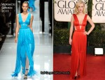 January Jones In Versace - 2011 Golden Globe Awards