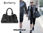 In Lindsay Lohan's Closet - Burberry Studded Leather Knight Bag & Burberry Studded Scarf