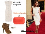 In Olivia Palermo's Closet - Alexander McQueen Jacquard Dress, Bottega Veneta Clutch & Elizabeth and James Lizzy Shoe Boots