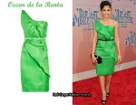 In Freida Pinto's Closet - Oscar de la Renta Basketweave Silk-Gazar Dress