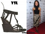 In Zoe Saldana's Closet - YSL Cage Ankle Wedges