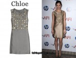 In Hailee Steinfeld's Closet - Chloe Bead Embellished Satin Dress