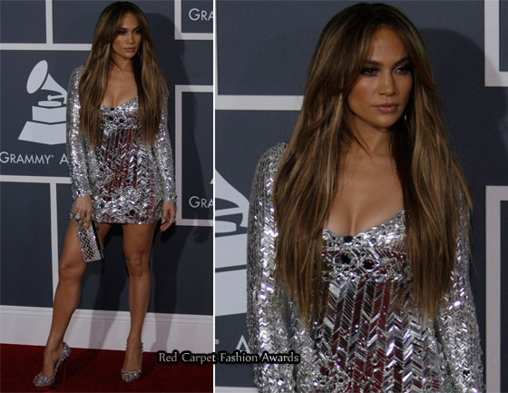 jennifer lopez 2011 grammys dress. The mini dress was teamed with