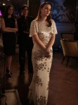 On Set With Leighton Meester Wearing Marchesa
