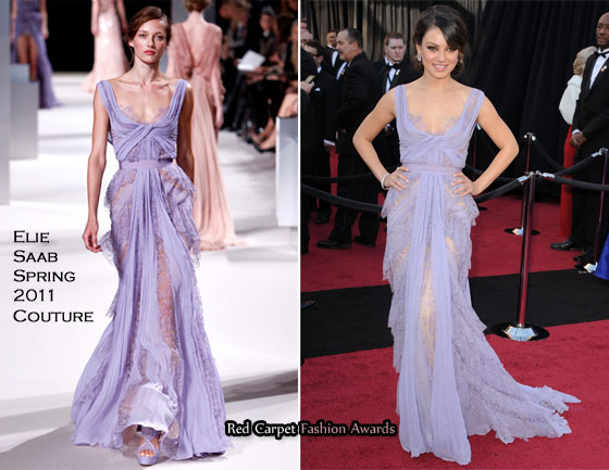 9c7e59315501a Mila Kunis In Elie Saab Couture - 2011 Oscars - Red Carpet Fashion ...