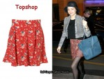 In Miranda Kerr's Closet - Topshop Red Meadow Print Flippy Skirt