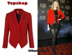 In Teresa Palmer's Closet - Topshop Red Crop Jacket