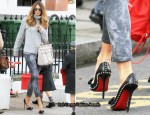 School Run Style: Elle Macpherson's Christian Louboutin Lucifer Bow Spiked Pumps & Roberto Cavalli 'Diva' Bag