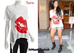 In Ciara's Closet - Torn 'Gilliane Lips' V-Neck T-Shirt