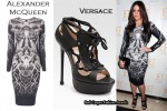 In Khloe Kardashian's Closet - Alexander McQueen Tree Print Jersey Dress & Versace Sandals